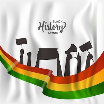 Conceito de mês de história negra com as mãos de pessoas de silhueta protestando por seus direitos sobre fundo de seda branco.
