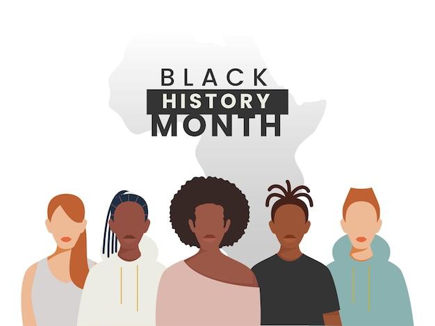 Conceito de mês de história negra com caráter de pessoas multinacionais em fundo branco.