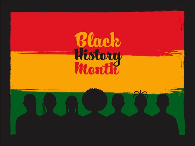 Conceito de mês de história negra com grupo de silhueta feminina em fundo de efeito de pincelada.