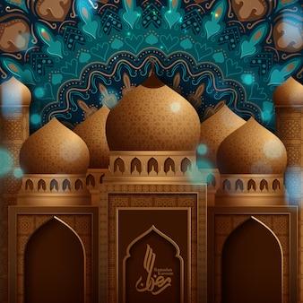 Conceito de mesquita dourada para a comunidade muçulmana mês sagrado do ramadã