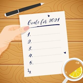 Conceito de metas do ano novo 2021. lista em branco de resolução de planos na mão da mulher. lista de afazeres.
