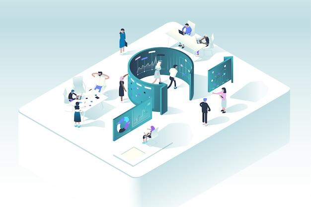 Conceito de metodologia scrum. a ilustração mostra como as pessoas interagem no processo de trabalho seguindo as regras do gerenciamento de projetos agile.