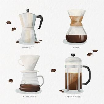 Conceito de métodos de fabricação de café