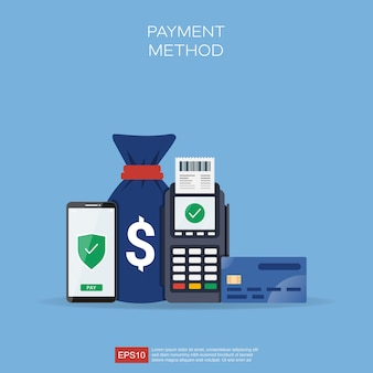 Conceito de métodos de pagamento com diferentes formas de ilustração de transações.