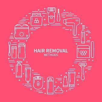Conceito de métodos de remoção de cabelo.