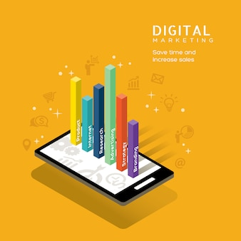 Conceito de mídia de marketing digital