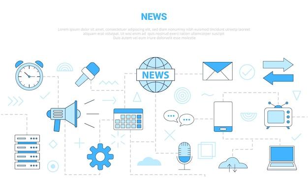 Conceito de mídia de notícias com banner de modelo de conjunto de ícones