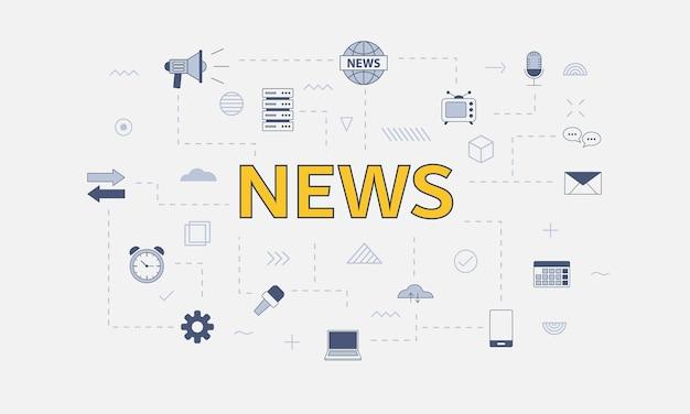 Conceito de mídia de notícias com conjunto de ícones com grande palavra ou texto na ilustração vetorial central