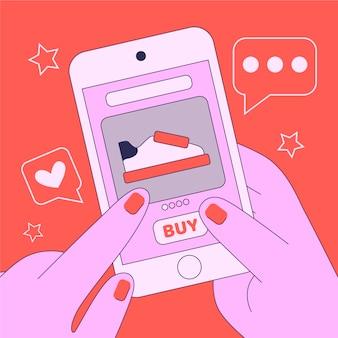 Conceito de mídia social com compras on-line