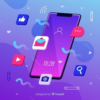 Conceito de mídia social com telefone móvel antigravidade