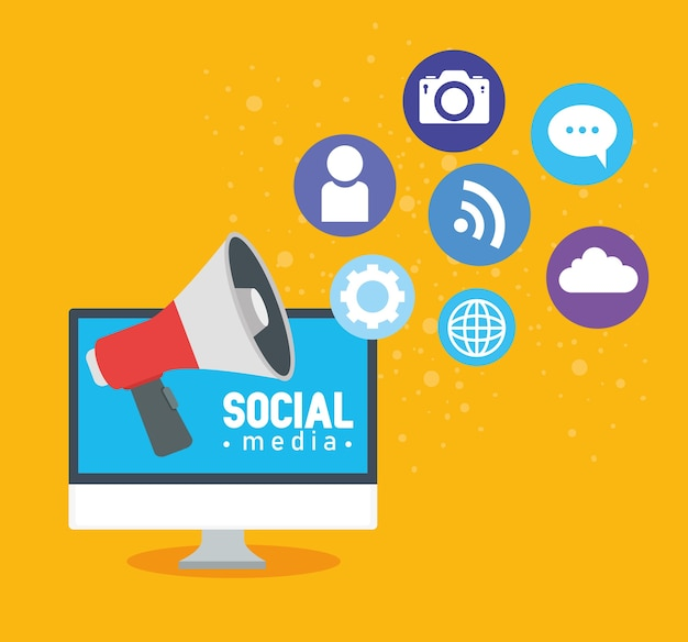 Conceito de mídia social, computador com megafone e design de ilustração de ícones