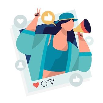 Conceito de mídia social de influenciador