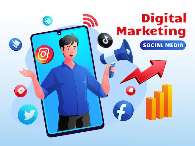 Conceito de mídia social de marketing digital