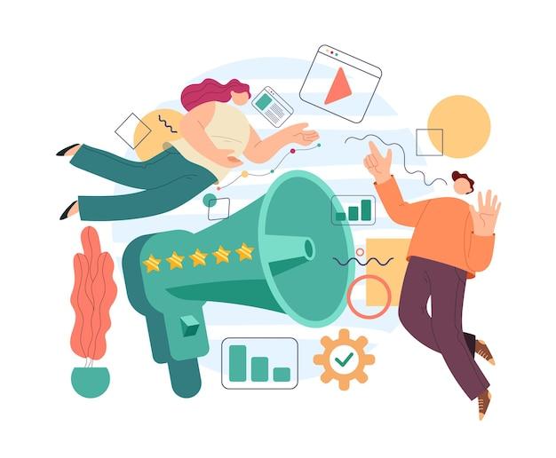 Conceito de mídia social de promoção de rede de gerenciamento de publicidade