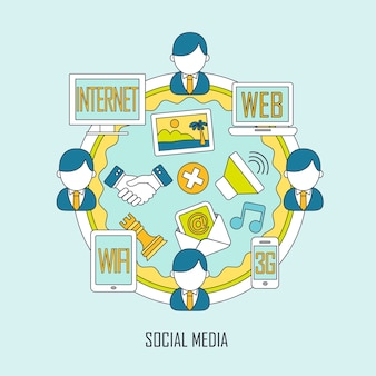 Conceito de mídia social em estilo de linha fina simples