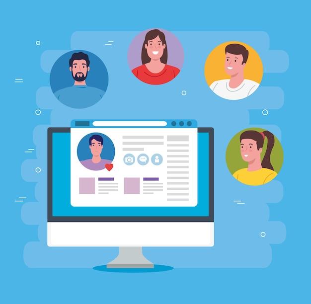 Conceito de mídia social, grupo de pessoas se comunicando por design de ilustração de computador