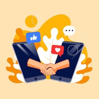 Conceito de mídia social ilustrado