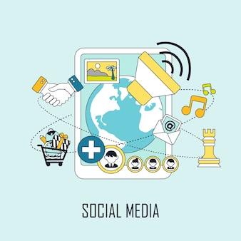 Conceito de mídia social: informações diversas saindo do tablet em estilo de linha