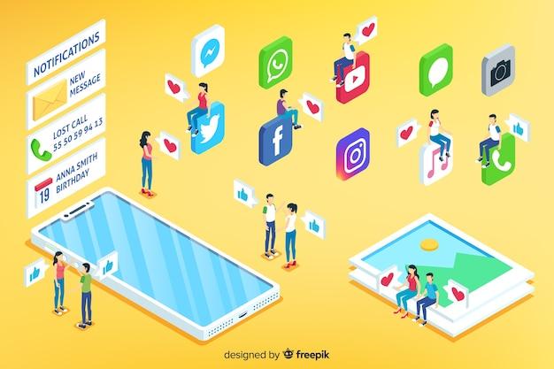 Conceito de mídia social isométrica
