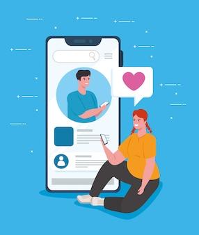 Conceito de mídia social, jovem casal conversando para smartphone
