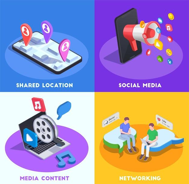 Conceito de mídia social, localização compartilhada, rede