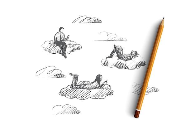 Conceito de mídia social. mão desenhada pessoas conectadas com dispositivos digitais. homens e mulheres comunicam-se através da ilustração isolada da internet.