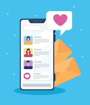 Conceito de mídia social, pessoas conversando em smartphone, comunicação online
