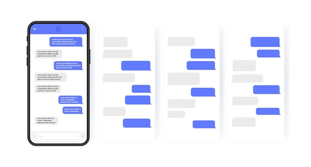 Conceito de mídia social. telefone inteligente com tela de bate-papo do messenger em carrossel. bolhas de modelo de sms para diálogos redigidos. estilo de ilustração moderno.