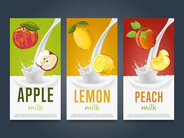 Conceito de milk-shake com respingo de leite e frutas