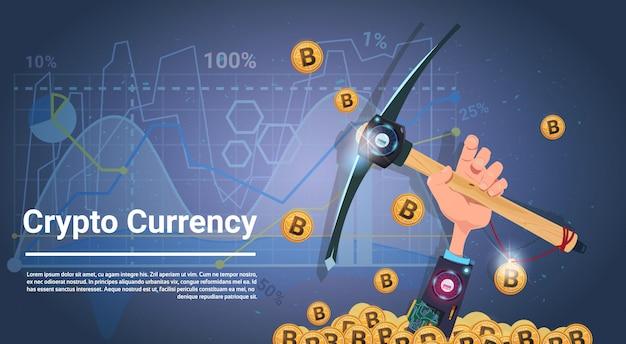 Conceito de mineração de bitcoin mão segurando pickaxe internet digital dinheiro crypto moeda conceito