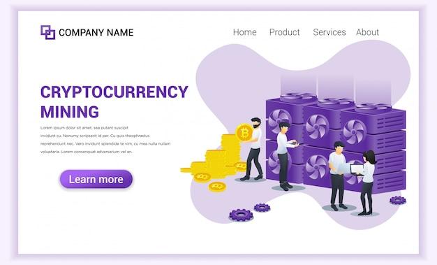 Conceito de mineração de criptomoeda com pessoas minerando bitcoins no laptop