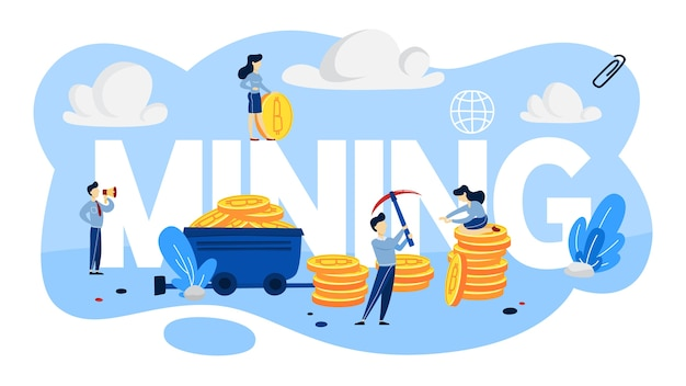 Conceito de mineração de criptomoeda. pessoas que trabalham com pilhas de bitcoins por aí. ideia de blockchain e inovação digital. ilustração
