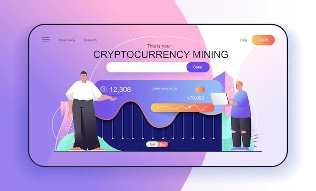 Conceito de mineração de criptomoedas para páginas de destino, pessoas que fazem dinheiro digital com criptografia