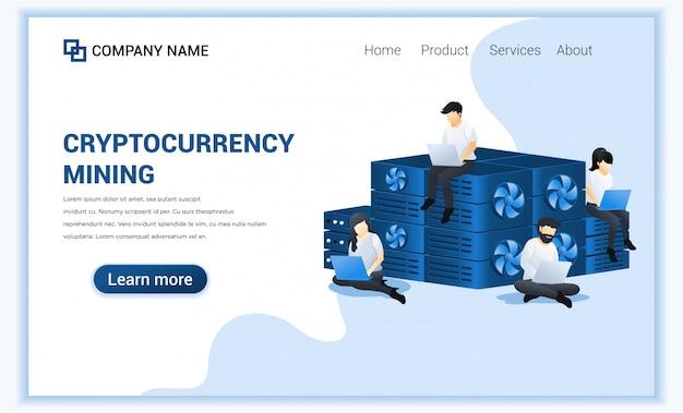 Conceito de mineração de moeda criptográfica com pessoas que mineram bitcoins no laptop. moeda digital e negociação.