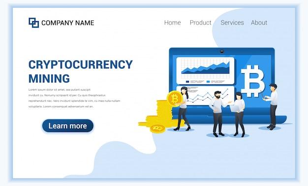 Conceito de mineração de moeda criptográfica com pessoas trabalhando na tela e laptop exibindo dados gráficos, mineração de bitcoins.