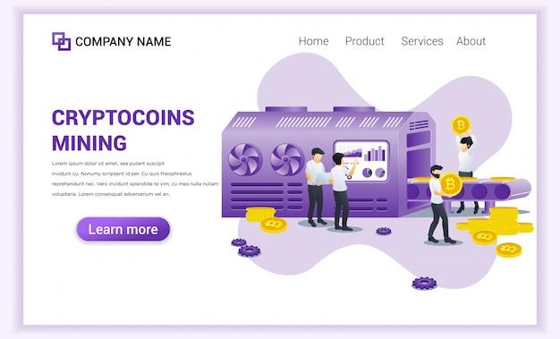 Conceito de mineração de moedas criptográficas com pessoas que mineram bitcoins