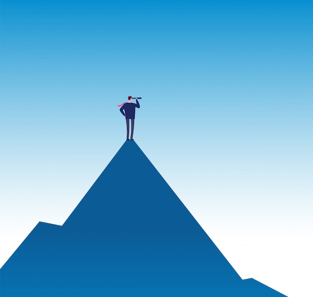 Conceito de missão empresarial. visionário no pico da montanha com telescópio. cartaz de vetor de visão de negócios de sucesso