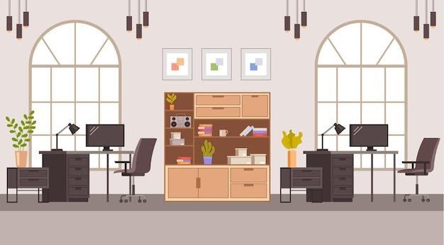 Conceito de mobiliário de escritório interior. ilustração