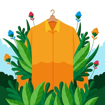 Conceito de moda sustentável desenhado à mão plana