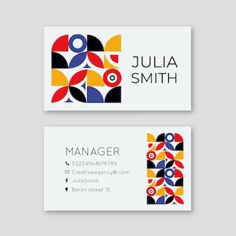 Conceito de modelo abstrato colorido cartão de visita