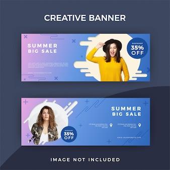 Conceito de modelo de banner de venda de moda verão
