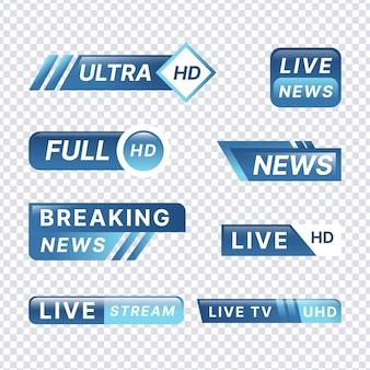Conceito de modelo de banners de notícias de transmissão ao vivo