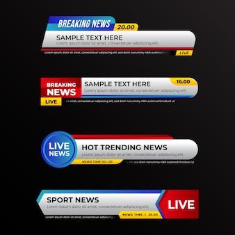 Conceito de modelo de banners de notícias de última hora