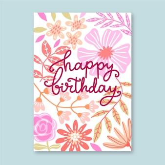 Conceito de modelo de cartão de aniversário floral