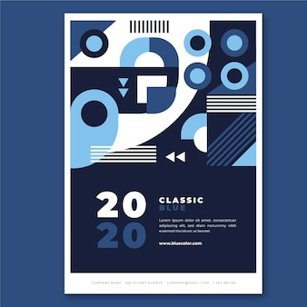 Conceito de modelo de cartaz azul clássico abstratc
