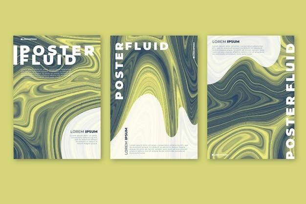Conceito de modelo de cartaz de efeito fluido colorido
