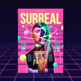 Conceito de modelo de cartaz de festa surreal