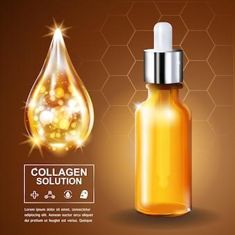 Conceito de modelo de cartaz de soro de colágeno e vitamina para cuidados com a pele
