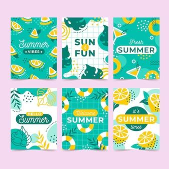 Conceito de modelo de cartões de verão