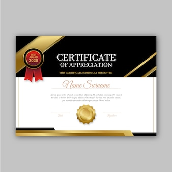 Conceito de modelo de certificado de prêmio